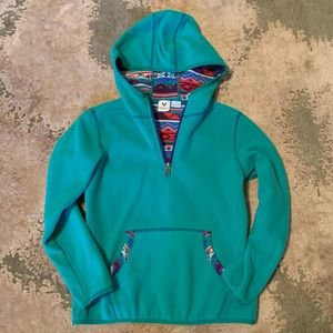 Aqua fleece hoodie with patterned details